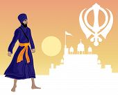 stock photo of sikh  - an illustration of a sikh greeting card with a white gurdwara military emblem and khalsa warrior on a sunset background - JPG