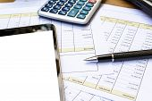 image of accounting  - Close up Desk office business financial accounting calculate - JPG