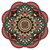 pic of mehndi  - color vector mandala in retro style on a white background - JPG