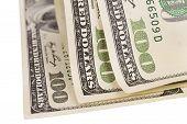 foto of one hundred dollar bill  - one hundred US dollar bills isolated over white - JPG