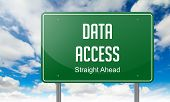 stock photo of x-files  - Highway Signpost with Data Access wording on Sky Background - JPG