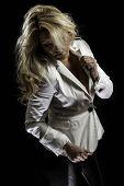 picture of blazer  - A blonde Latina girl in a white blazer and shiny black leather pants - JPG