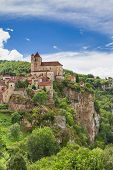 foto of naturel  - Saint Circ Lapopie in France against a blue sky - JPG