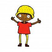 image of attitude boy  - retro comic book style cartoon boy with positive attitude - JPG