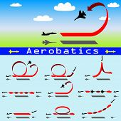pic of aerobatics  - The Aerobatics airplane on blue sky background - JPG