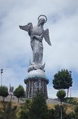 stock photo of serpent  - This Statue of Mary is found on a hill in Quito, one of the biggest in South America, she stands atop the world crushing a serpent beneath her feet. She has wings and a crown of stars. ** Note: Soft Focus at 100%, best at smaller sizes - JPG
