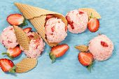 picture of cone  - Strawberry Ice Cream With Fresh Strawberries - JPG