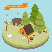 pic of tent  - Isometric 3d forest camping icon - JPG
