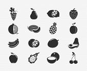 stock photo of exotic_food  - Set of fruit black silhouettes icons - JPG