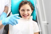 picture of sandblasting  - Woman at the dentist - JPG