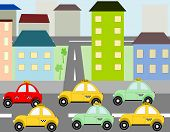 picture of car ride  - Cars taxi ride into town on the road - JPG