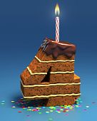 picture of birthday-cake  - number four shaped birthday cake with lit candle and confetti - JPG