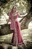 foto of indian beautiful people  - Young beautiful Hindu Indian bride in traditional gown outdoors in garden