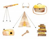picture of wigwams  - Summer camping watercolor objects collection on the white background - JPG