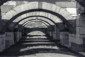 picture of empty tomb  - Interior of empty corridor with arcs - JPG