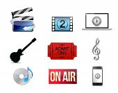 foto of over counter  - entertainment concept icon set illustration design over white - JPG