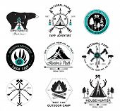 picture of antlers  - Set of vintage camp labels. Set of hunting  logo, labels and design elements.