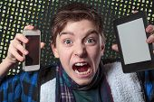 picture of lunate  - teenager gets crazy with digital media letters salad background - JPG