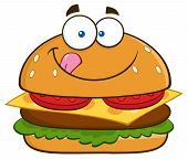 picture of fat lip  - Hungry Hamburger Cartoon Character Licking His Lips - JPG