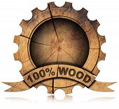 picture of 100 percent  - Wooden icon in the shape of gear with wooden ribbon and text 100 - JPG