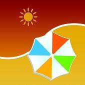 pic of beach shell art  - summer with umbrella color vector art illustration - JPG