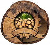 image of cutting trees  - Wooden icon in the shape of gear with trunks of trees cut and green forest on a section of tree trunk - JPG
