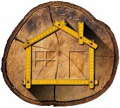 foto of tree house  - Wooden house project concept - JPG
