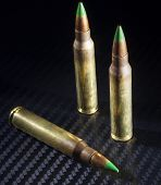 picture of piercings  - Three green tipped cartridges considered to be armor piercing  - JPG