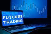 pic of trade  - Computer with words futures trading - JPG