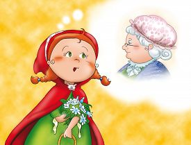 stock photo of little red riding hood  - Little Red Riding Hood is thinking about her granny - JPG