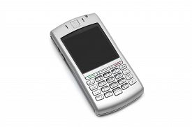 stock photo of qwerty  - smart phone with qwerty keyboard on an isolated white background - JPG