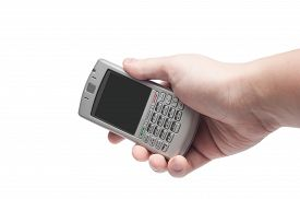 pic of qwerty  - smart phone with qwerty keyboard in hand isolated on white background - JPG