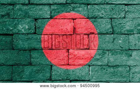 Flag Of Bangladesh On Old Brick Wall.
