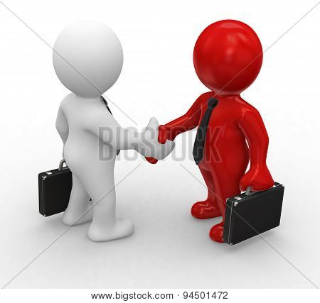 3d small business people standing on the puzzle and make a handshake. 3d image. Isolated white backg