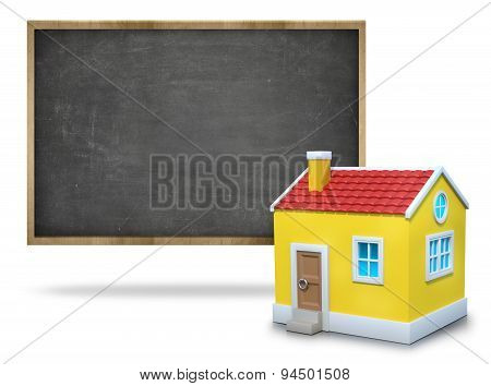 Black blank blackboard with wooden frame and 3d house