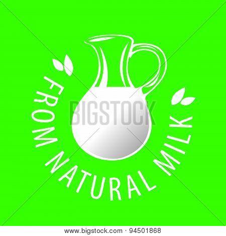 Vector Logo Glass Jug With Milk