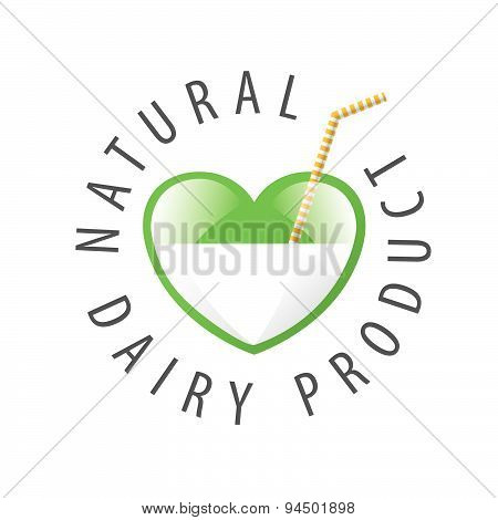 Vector Logo Heart With Milk And Straw