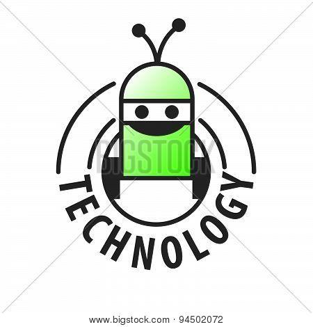 Vector Logo Robot With Two Antennas