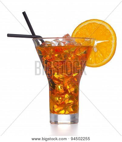 Fresh And Cold Ice Tea With Sliced Orange Isolated On White Background