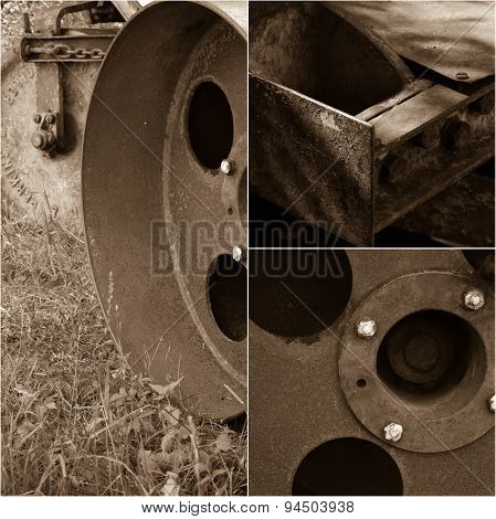 Antique Turf Lawn Roller Rusty Machine