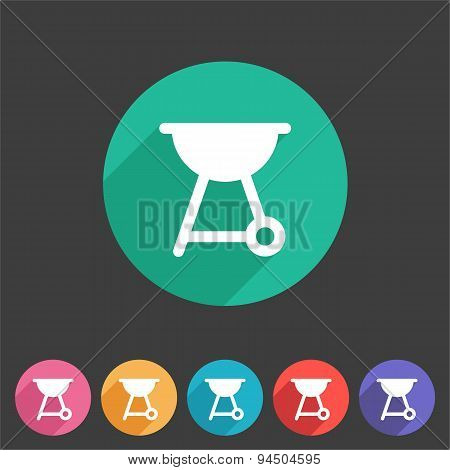 Barbeque grill bbq flat icon web sign symbol logo label