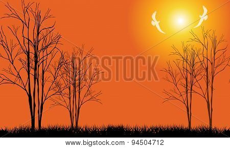 Bare tree with flying birds-Vector illustration