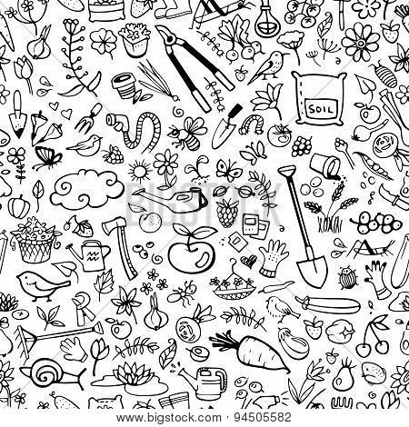 Hand Drawn Garden Icons Seamless Background