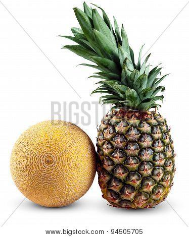Fresh Whole Pineapple And Galia Melon Isolated On White Background