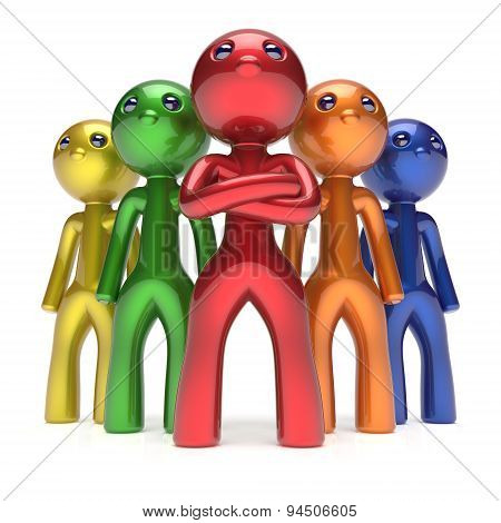 Teamwork Characters Men Crowd Leadership Businessman