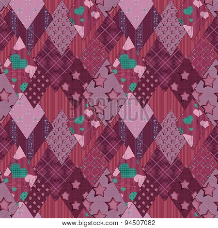 Seamless Pink Retro Patchwork Pattern