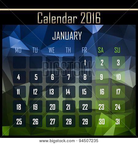 Geometrical Polygonal 2016 Calendar Design For January Month