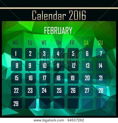 Geometrical Polygonal 2016 Calendar Design For February Month