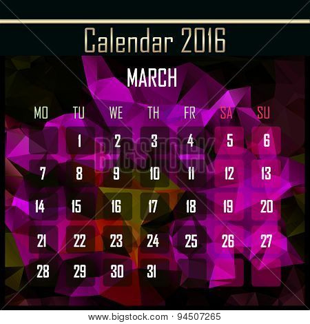 Geometrical Polygonal Triangles 2016 Calendar Design For March Month
