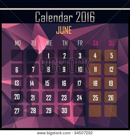 Geometrical Polygonal 2016 Calendar Design For June Month